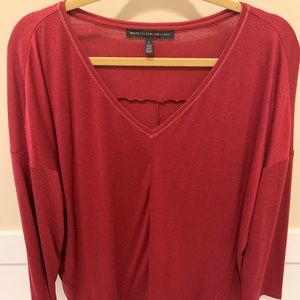 Long sleeve dark red v-neck boxy t-shirt